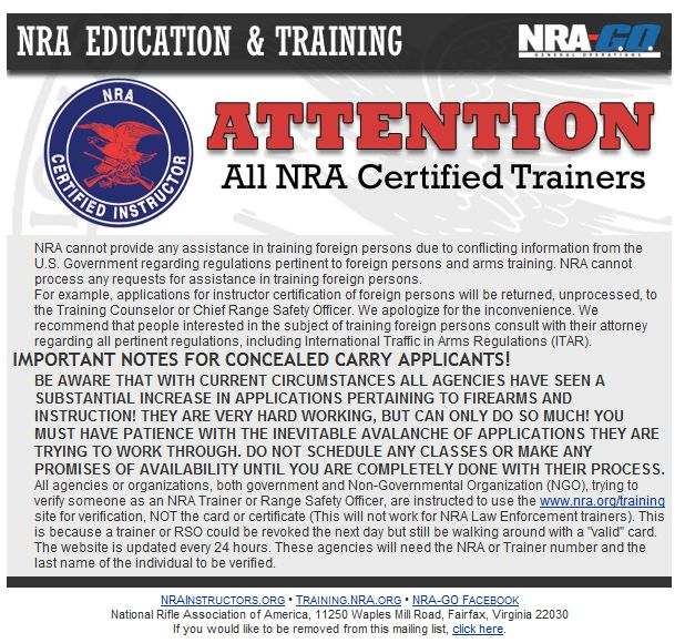 Attention All Nra Certified Trainers Training Illinoiscarry